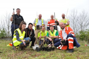 The tree planters. Back row left to right; Carl Griffin (BESST), Ian Walsh, Andrew Harris, Matt Hawkins (Shropshire Wildlife Trust).  Front row; Beth Williams, Andy Whyle (BESST), Brian Rowley, Jonathan Smith and Richard Summers