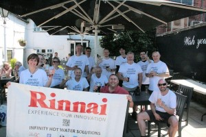 Rinnai staff enjoy a refresher after completing their charity walk for the John Holt Can Support Foundation.