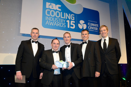 Managers accepting award on behalf of Wolseley UK