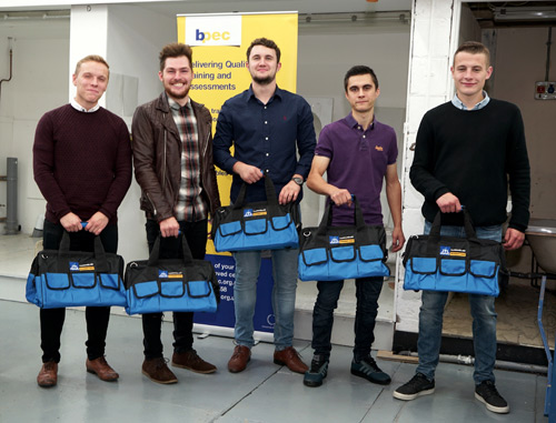 Apprentices left to right: Tom Dungworth, Jamie Milner, Luke Metcalfe, Liam Smith and Alex Berry.
