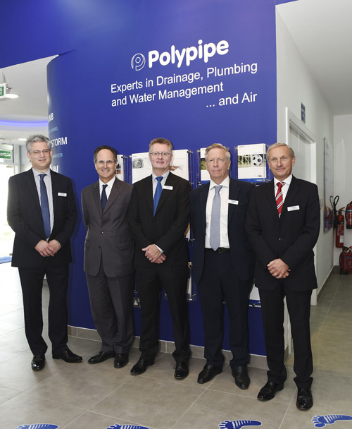 Phillip Parham, british ambassador to the UAE (second left) with sernior Polypipe staff and board members