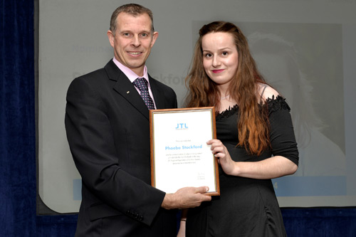 Phoebe Stockford with JTL's Midlands regional business manager Mark Page