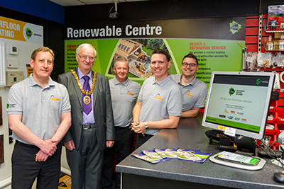 Deputy Mayor of Carmarthen Wyn Thomas (second from left) with the City Plumbing Supplies team, including Dominic Maynard (first left), and Marc Miller from Sustainable Building Solutions (second right)