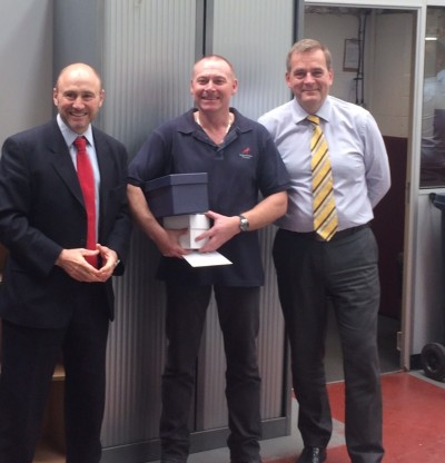 Presentation to Carl (centre), pictured with Geoffrey and Tony Graves, MD of Salamander Pumps.