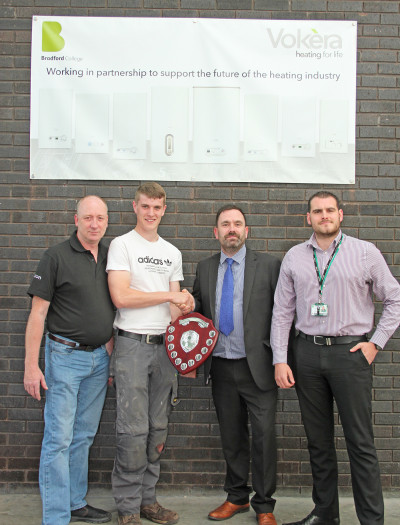 Ben Dixon (second left), Charles Noble (Vokera) and Ben Houlbrook (CTS) Apprentice of Year 2
