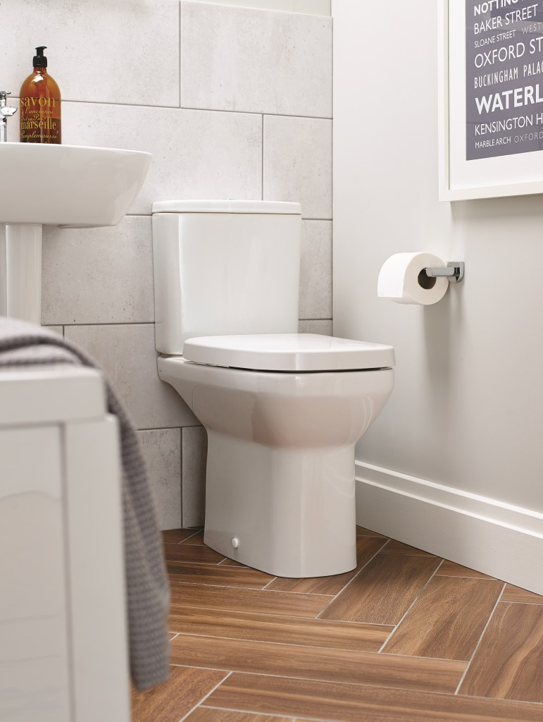 Close-coupled toilet, cistern and seat £255.88.