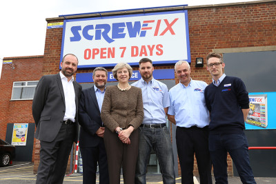 Theresa May at a Screwfix event before her appointment as Prime Minister