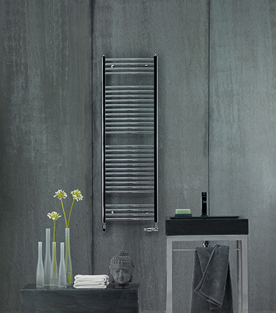 The Zehnder Aura Towel Radiator in chrome