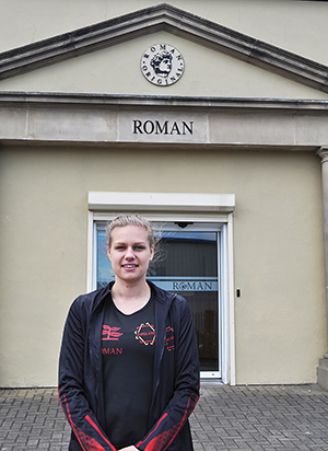 Thea Thompson in her Roman Branded England Kit