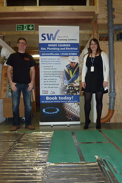 Dave Green from Heat Mat Underfloor Heating and Alison Walker from Steve Willis Training