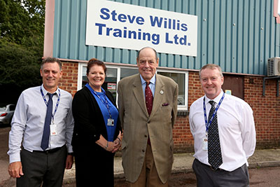 From left to right: curriculum leader Kevin Smith, apprenticeships manager Suzanne Green, Sir Nicholas Soames and managing director Steve Willis.