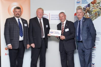 Pictured left to right: Peter Worthington, BMF north west regional chairman, Mike Beard, merchant development director Encon, Peter Hindle, BMF chairman and John Newcomb, BMF managing director
