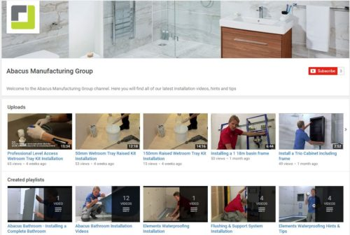 Abacus' new 'how to' YouTube channel, designed to help create the ideal bathroom