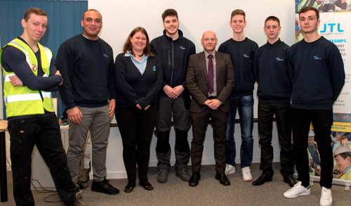 The six apprentices with Natasha Heritage from JTL and Stephen Carroll from Interserve at the recent event
