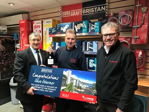 Bristan business development manager, Kearn Hamer, Dave Warner, and branch manager, Philip Morris
