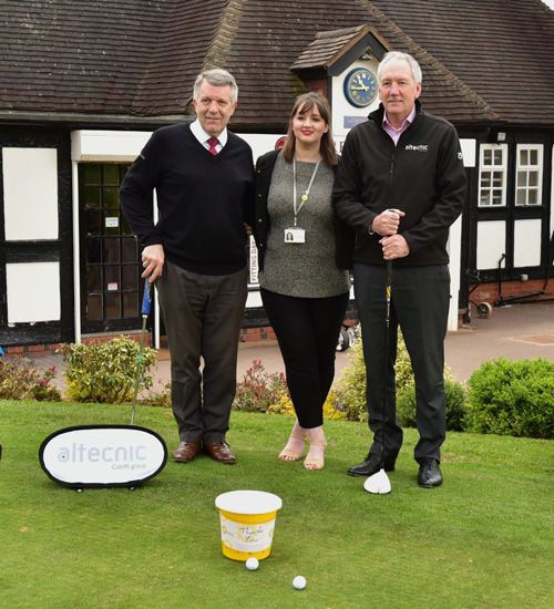 (Picture from left to right) Richard Minton, general manager at Trentham Golf Club, with Alex Jade Ward-Brassington and Alan Sherwin