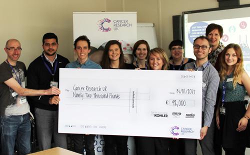Sarah Sadler, Kohler Mira Finance Director hands a cheque of £92,000 over to the CRUK fundraising team.