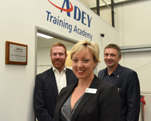 ADEY chief marketing officer, James Parkinson, and global technical director, Dr Neil Watson, with principal of South Gloucestershire and Stroud College, Sara-Jane Watkins who opened the new training centre at ADEY's head office.