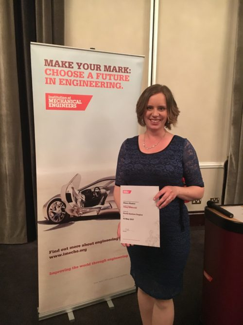 Diana Hunter being presented with her Chartered Engineer certificate from the Institution of Mechanical Engineers in May 2017
