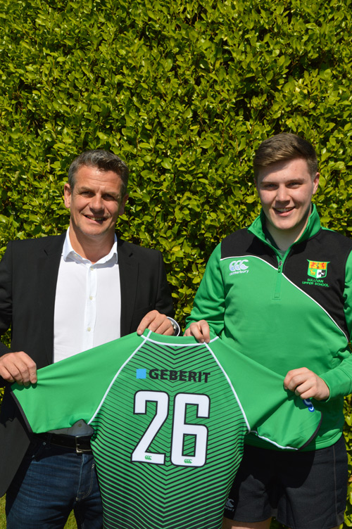 Sullivan Upper School Rugby Team captain, Adam McKenna (right), pictured with Peter Dowling of CM Marketing (left)