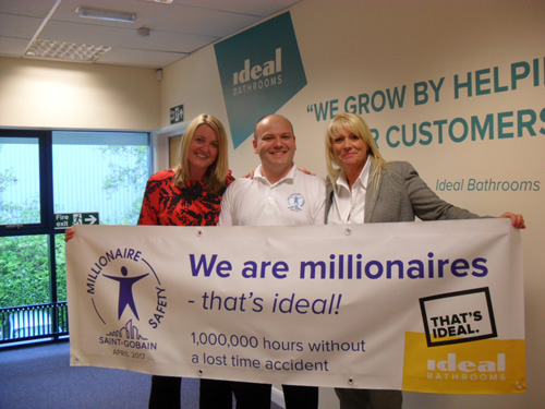 Left to right; Danielle Lillis, Ideal Bathrooms' commercial director, Paul Stott, Ideal Bathrooms EHS manager and Kim Kirby-Earnshaw