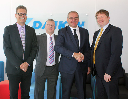 From l-r: Martin Krutz, managing director at Daikin UK, Lee Nicholls, branch director at Daikin UK, Tony Evanson and Mark Dyer