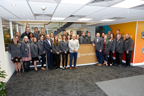 The Warmafloor team at the new HQ in Hampshire.
