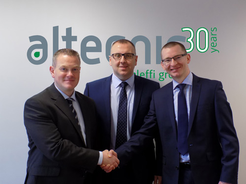 Gary Swann (left) with OEM national sales manager, Mark Mogey, and country manager for Northern Ireland, Chris Reilly