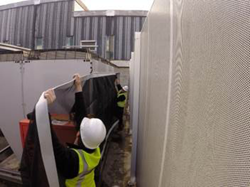 An installation of RABScreen external air intake screens using the new Continuous Attachment System.