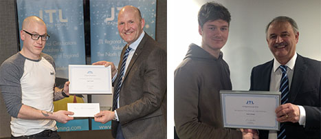 Dale Turner and Jack Varney, both from Yorkshire and the North East gets their regional awards from JTL's Brian Mills