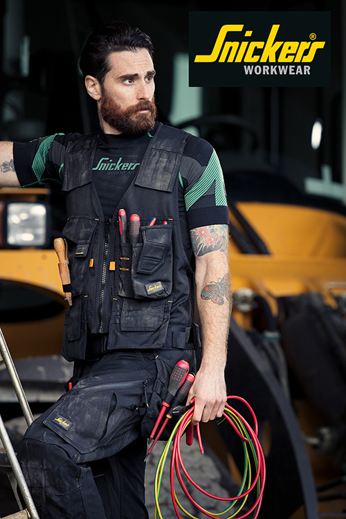The tool vest features many hand-wearing pockets for a variety of tools and accessories