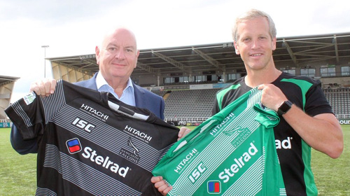 Trevor Harvey, chief executive officer of Stelrad Radiator Group, with Newcastle Falcons head coach, Dave Walder