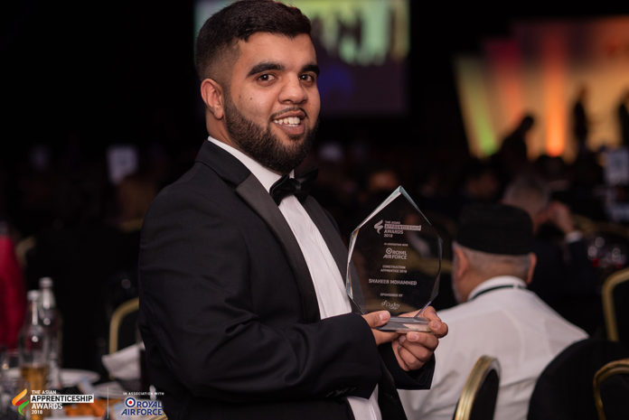 Shabeeb, a plumbing apprentice with Fortem in Yorkshire, with his trophy.