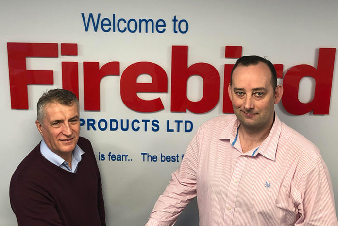 David Hall, UK director of Firebird Products, welcomes Paul Scott as national renewables manager