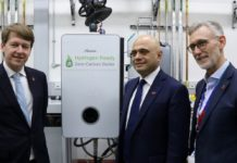 Worcester MP Robin Walker, Sajid Javid and Worcester Bosch CEO Carl Arntzen